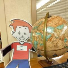 Flat Odie and a Globe